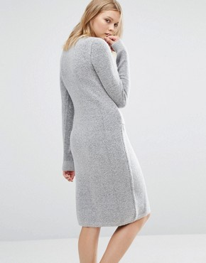 photo Tie Front Knit Dress by Native Youth, color Grey - Image 2