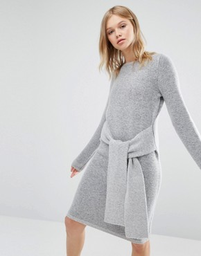 photo Tie Front Knit Dress by Native Youth, color Grey - Image 1