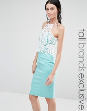 photo High Neck Bodycon Dress With Contrast Lace Bodice by Paper Dolls Tall, color Aqua/Cream - Image 1