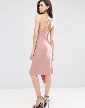 photo Double Strap Wrap Midi Dress by ASOS TALL, color Dusky Pink - Image 2