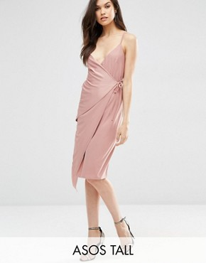 photo Double Strap Wrap Midi Dress by ASOS TALL, color Dusky Pink - Image 1