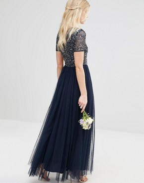 photo V Neck Maxi Tulle Dress with Tonal Delicate Sequins by Maya Petite, color Navy - Image 2