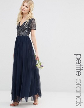 photo V Neck Maxi Tulle Dress with Tonal Delicate Sequins by Maya Petite, color Navy - Image 1