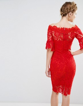 photo Off Shoulder Crochet Dress with Frill Sleeve by Paper Dolls, color Red - Image 2