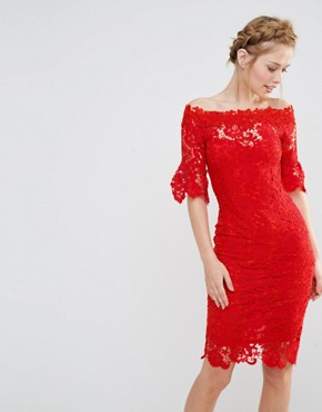 photo Off Shoulder Crochet Dress with Frill Sleeve by Paper Dolls, color Red - Image 1