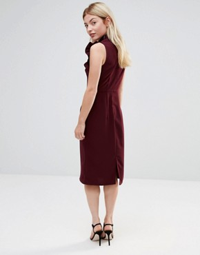 photo Pencil Dress with Frill Bib by Alter, color Burgandy - Image 2