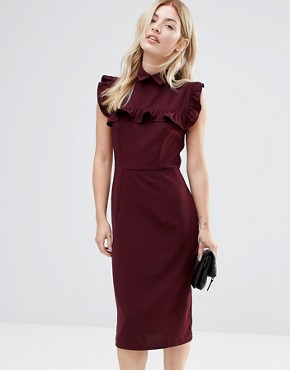 photo Pencil Dress with Frill Bib by Alter, color Burgandy - Image 1