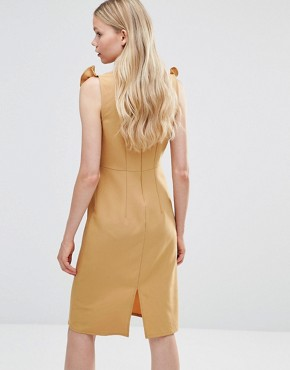 photo Pencil Dress with Frill Bib by Alter, color Yellow - Image 2