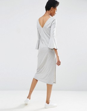 photo Midi Column Dress with Flared Sleeve by ASOS TALL, color Grey Marl - Image 2
