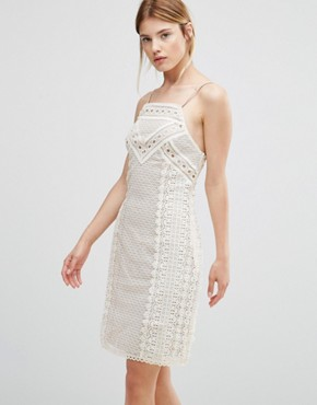 photo Lua Lace Halter Neck Dress by Greylin, color Cream - Image 1