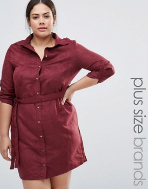 photo Suedette Shirt Dress by NVME, color Red - Image 1