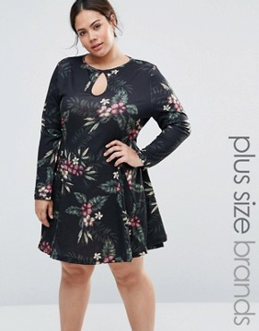 photo Jersey Swing Dress with Keyhole Detail by NVME, color Black Floral - Image 1