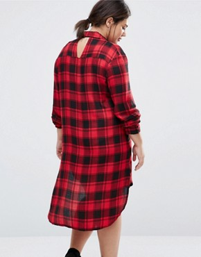 photo Check Shirt Dress by NVME, color Raspberry/Black - Image 2