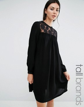 photo Dress with Lace Insert by Brave Soul Tall, color Black - Image 1