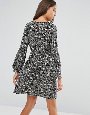 photo Smock Dress with Frill Sleeves by Brave Soul Tall, color Black - Image 2