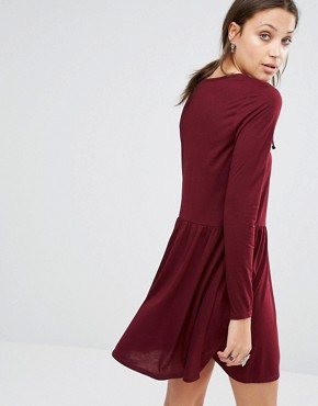 photo Jersey Skater Dress with Lace Up Front by Brave Soul Tall, color Elderberry - Image 2