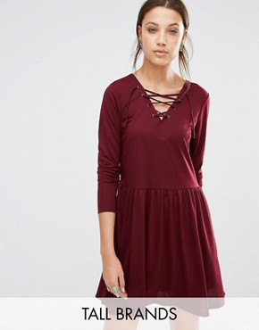 photo Jersey Skater Dress with Lace Up Front by Brave Soul Tall, color Elderberry - Image 1