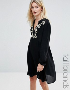 photo Dress with Embroidered Neckline by Brave Soul Tall, color Black - Image 1