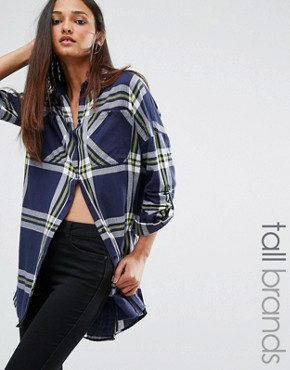 photo Oversized Check Shirt Dress by Noisy May Tall, color  - Image 1