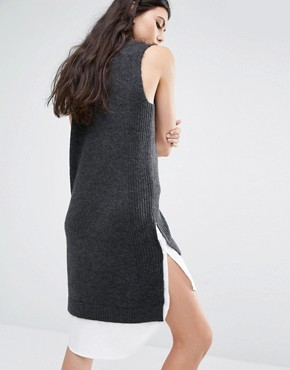photo 2 In One Sleeveless High Neck Jumper Dress by Noisy May Tall, color Grey - Image 2
