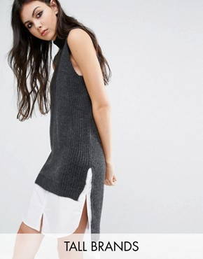 photo 2 In One Sleeveless High Neck Jumper Dress by Noisy May Tall, color Grey - Image 1