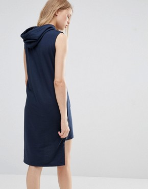 photo Hooded Dress with High Low Hem by Noisy May Tall, color Navy - Image 2