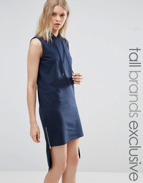 photo Hooded Dress with High Low Hem by Noisy May Tall, color Navy - Image 1