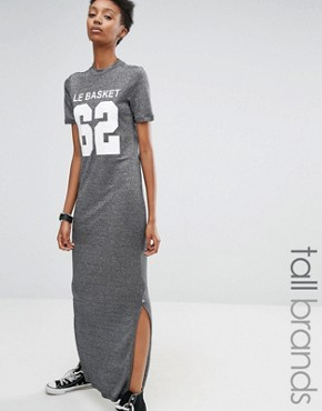 photo Motif Metallic Jersey Maxi T-Shirt Dress by Noisy May Tall, color Grey - Image 1