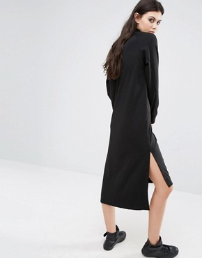 photo High Neck Long Sleeve Midi Sweat Dress by Noisy May Tall, color Black - Image 2