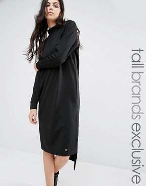 photo High Neck Long Sleeve Midi Sweat Dress by Noisy May Tall, color Black - Image 1