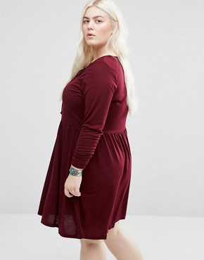 photo Jersey Skater Dress with Lace Up Front by Brave Soul Plus, color Elderberry - Image 2