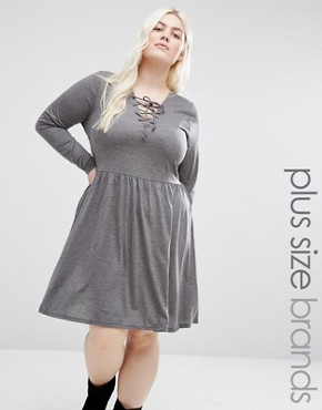 photo Jersey Skater Dress with Lace Up Front by Brave Soul Plus, color Grey - Image 1