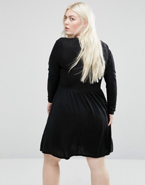 photo Jersey Skater Dress with Lace Up Front by Brave Soul Plus, color Black - Image 2