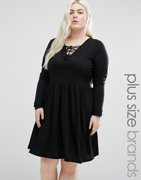 photo Jersey Skater Dress with Lace Up Front by Brave Soul Plus, color Black - Image 1