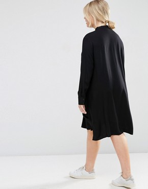 photo Shirt Dress with Drape Pockets by ASOS CURVE, color Black - Image 2