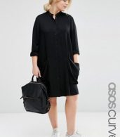 photo Shirt Dress with Drape Pockets by ASOS CURVE, color Black - Image 1