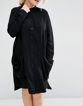 photo Shirt Dress with Drape Pockets by ASOS CURVE, color Black - Image 3