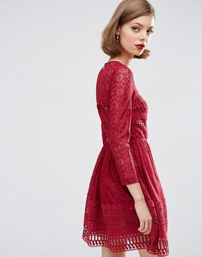 photo Lace Skater Dress by ASOS PREMIUM, color Dark Red - Image 2