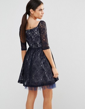 photo Navy Bardot Lace Skater Dress by Laced In Love, color Navy - Image 2