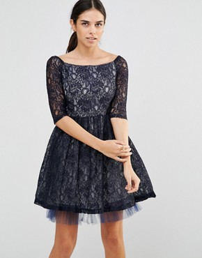 photo Navy Bardot Lace Skater Dress by Laced In Love, color Navy - Image 1
