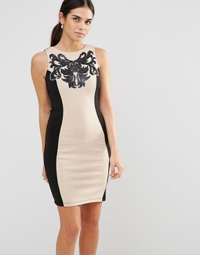 photo Panel Bodycon Dress by Laced In Love, color Black/Beige - Image 1