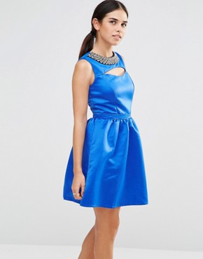 photo Embellished Cut Out Dress by Laced In Love, color Blue - Image 1
