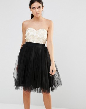 photo Prom Dress by Laced In Love, color Black/Cream - Image 1