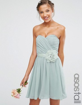 photo Chiffon Bandeau Mini Dress with Detachable Corsage by ASOS TALL WEDDING, color Grey - Image 1