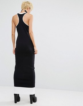 photo Lace Up Ribbed Maxi Dress by Puma, color Black/White - Image 2