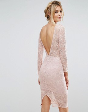 photo Allover Sheer Lace Pencil Dress by TFNC Tall, color Blush - Image 2