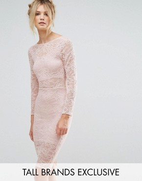 photo Allover Sheer Lace Pencil Dress by TFNC Tall, color Blush - Image 1