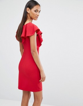 photo Frill Detail Mini Dress by Missguided Tall, color Red - Image 2