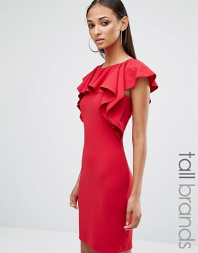 photo Frill Detail Mini Dress by Missguided Tall, color Red - Image 1