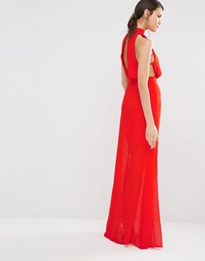 photo Exclusive High Neck Open Back Maxi Dress by Missguided Tall, color Red - Image 2